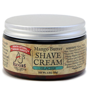 AJ's Elixirs hybrid shave cream, with mango butter, provides a moisturizing thick creamy lather, and incredible blade glide free from clogging.