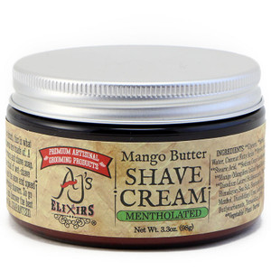 AJ's Elixirs mentholated hybrid shave cream, with mango butter, provides a moisturizing thick creamy lather, and incredible blade glide free from clogging.