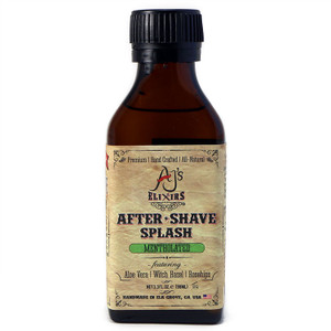 AJ's Elixirs mentholated after shave splash calms, soothes, refreshes, and revives. Combined with powerful vitamins and active botanicals for an effective toner.
