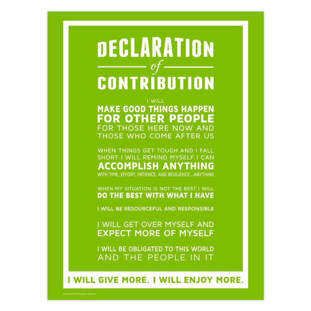 Declaration of Contribution 18x24 Poster (green)