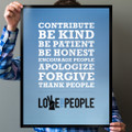 Love Your People 18 in. x 24 in. Poster (blue gradient)