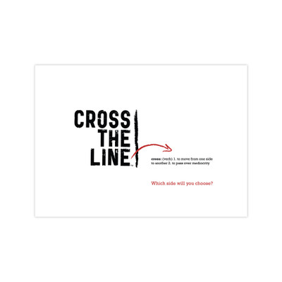 Cross The Line reminder card pack - white (set of 5)