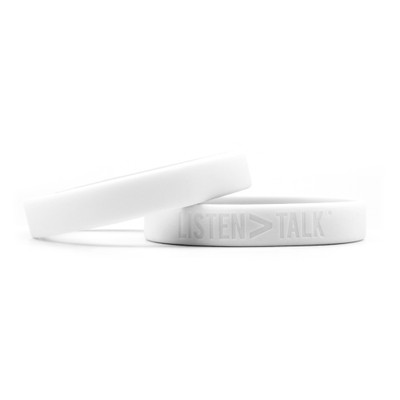 LISTEN > TALK Wristbands (white)