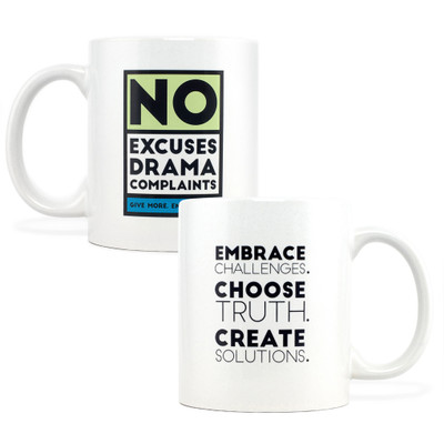 No Excuses, Drama, Complaints Mug (green - 11 oz)