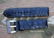 Panerai OEM Mare Nostrum black alligator strap with Pre A Sewn in Buckle