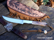 "Roger ""Mudbone"" Jones Walrus Long Hunter Fixed Blade with Tooled Sheath"