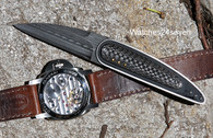 Corrie Schoeman Raindrop Damascus Lightening Strike Carbon Fiber Pocket Flipper Folder