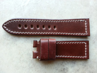 Oxblood with white stitching