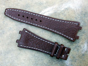 Simona Straps for Audemars Piguet Watches Brown Calf White Stiching for Deployant buckle w/ Brass Insert at lug