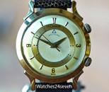 LeCoultre Vintage Wrist Alarm Art Deco Fancy Lugs, 14 karat Gold
