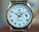 Rolex President Datejust Yellow Gold, White Roman Dial Ref. 18038