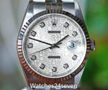 ROLEX Datejust 36 Automatic Silver Logo Diamond Dial Steel Jubilee Bracelet
