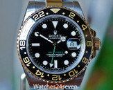 Rolex GMT Master II Ceramic Bez Steel & Gold Black Dial 40mm