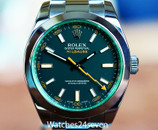 Rolex Milgauss Steel Black Dial Green Crystal 40mm Ref. 116400GV M