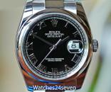 Rolex Datejust Steel Black Dial Smooth Bezel Oyster Bracelet 36mm Ref. 116200