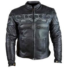 Men's Leather Jacket with Skulls