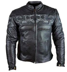 Men's Leather Jacket with Skulls