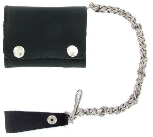 5 IN Black Leather Snap Wallet