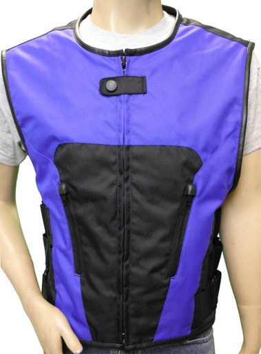Men's Blue Textile Tactical Vest, 2 Zip Front and 2 Inside Pockets.