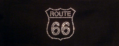 Stretch Headband-Route 66 Patch on Black bling