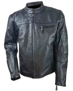 Men's Leather Vented Scooter Jacket W/Perforated Arm & Shoulder