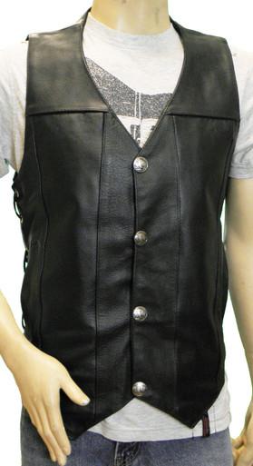 Men's Cowhide Leather Buffalo Nickle Vest