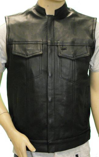 Men's Naked Leather Patch Holder Vest