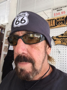 Stretch Headband-Route 66 Patch on Black