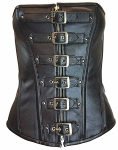 Ladies 6 Buckle Zip Front Corset