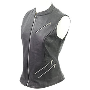 Black Leather Vest with Zipper