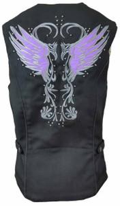Ladies Textile Vest W/Purple Reflective Wings & Embroidery