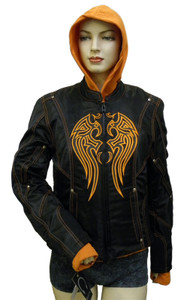 Ladies Textile Jacket W/Orange Embroidery & Removable Sweatshirt
