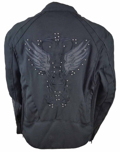 Ladies Textile Jacket W/Black Reflective Wings & Embroidery
