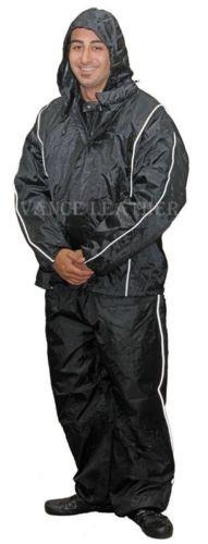 Unisex Heay Duty Rain Suite Black with Grey Stripe