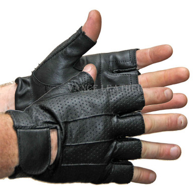 BLACK Leather Shorty Fingerless Gloves