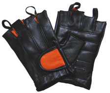 Black & Orange Padded Palm Fingerless Glove W/Pull Tabs