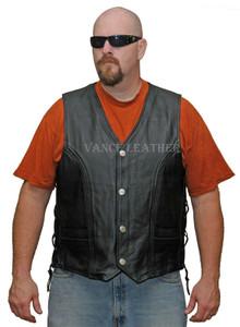 Men's Braided Top Grain Buffalo Nickel Vest