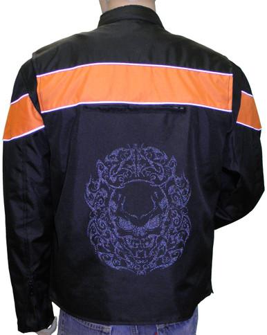 Men's Reflective Skull Textile Jacket W/ Orange Horizontal Stripe