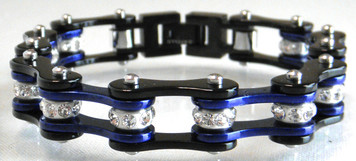 Two Tone Stainless Steel Bracelet, Black/Candy Blue W/White Crystal Centers