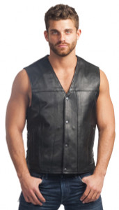 Men's Black Leather Vest.