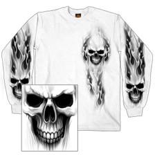 Ghost Skull White Long Sleeve Shirt
