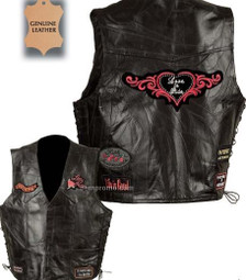 Ladies Black Leather Vest with Patches Sown on