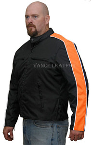 Men's Textile Jacket W/Orange Stripe Down Sleeve