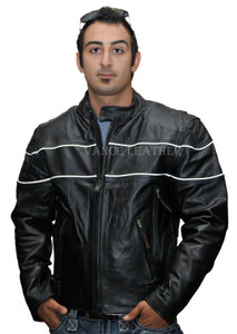 Men's Black Leather Jacket with Reflective piping