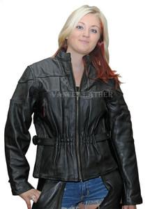 Ladies Milled Leather Black Stripe Racer