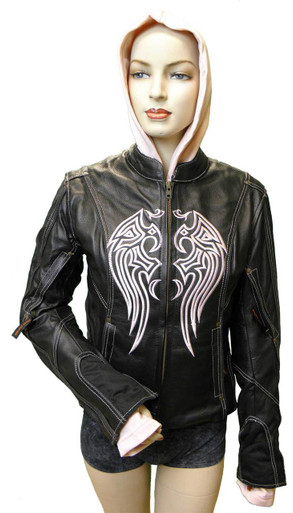 Ladies Leather Jacket W/Pink Embroidery & Removable Sweatshirt