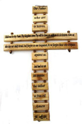 "Wall Cross Lord's Prayer Olive Wood Christian Gift Our Father Prayer 9"" Large"