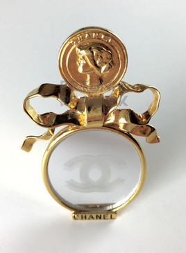 CHANEL RARE MIRRORED CC LOGO BROOCH