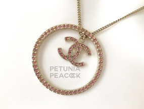 CHANEL PINK CRYSTAL CC MEDALLION NECKLACE