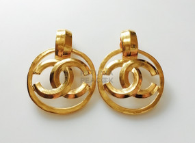 CHANEL CARVED CC LOGO  EARRINGS